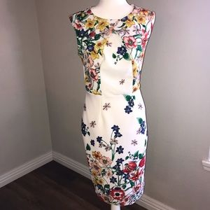 7TH AVENUE WHITE FLORAL DRESS SIZE SMALL